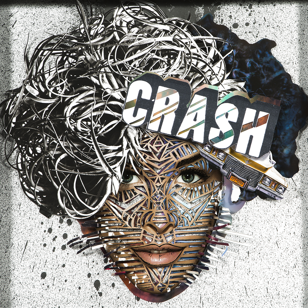 "Crash: 20"" x 20"" Mixed Media 3D Analog Collage, Ink hand Cut Paper and Photography"